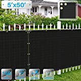 Patio Paradise 5' x 50' Black Fence Privacy Screen, Commercial Outdoor Backyard Shade Windscreen Mesh Fabric with Brass Gromment 88% Blockage- 3 Years Warranty