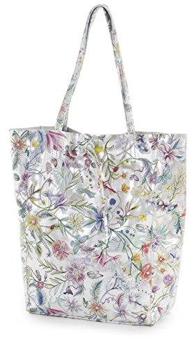 Genuine Leightweight Floral Handbag Hobo Italian Large Leather Shopper Tote Silver Astrid Shoulder Soft Liatalia Metallic TwA1dHqH