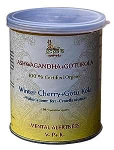 ASHWAGANDHA Gotukola (Withania somnifera + Centella asiatica)en cápsulas, planta ayurvédica tradicional para la memoria, mejorar la concentración, ...