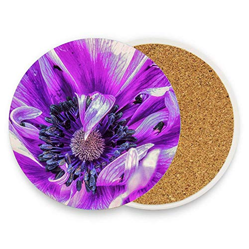 CuteToiletLidABC Purple Treasure Coaster for Drinks,Wallpaper Ceramic Round Cork Table Cup Mat Coaster Pack Of 1 (Coasters Treasures)
