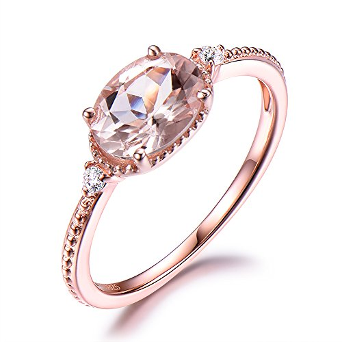 Pink Morganite Engagement Ring 925 Sterling Silver Rose Gold Plated Oval Cut Solitaire CZ Diamond Accent by Milejewel Morganite Engagement Ring
