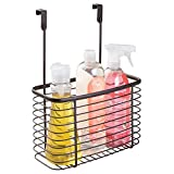 mDesign Metal Over Cabinet Kitchen Pantry Storage Organizer Holder Basket - Hang Over Cabinet Doors - Holds Aluminum Foil, Sandwich Bags, Cleaning Supplies, Trash Bags - Steel Wire - Bronze
