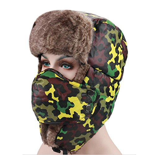 [Ezyoutdoor Unisex Classic Warm Winter Beanie Trapper Hat Hunting Hat Ushanka Ear Flap Chin Strap and Windproof Mask for Outdoor Sport Ski Hat Cycling Motorbike,One Size Fit Most (Yellow] (Target Cowboy Dog Costume)