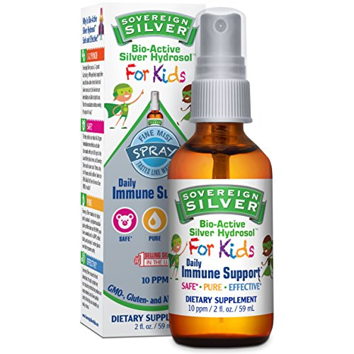 Sovereign Silver Bio-Active Silver Hydrosol For Kids for Daily Immune Support - 10 ppm, 2oz (59mL) - Fine Mist Spray