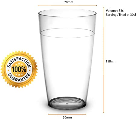 RB Vasos ECO Plástico Premium Irrompible Reutilizable 30cl, Set de 12