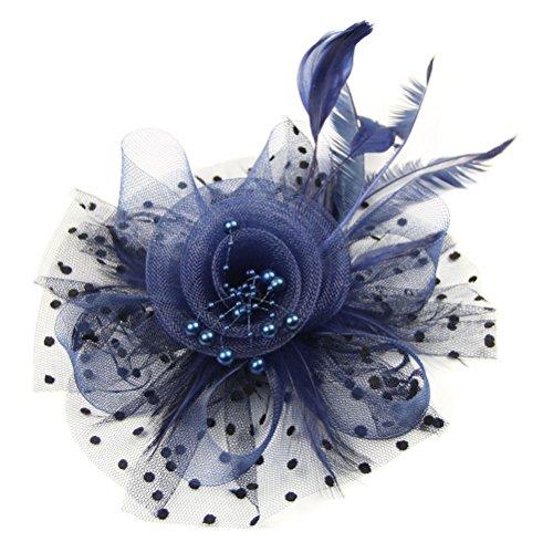 [Women Fascinators Hair Clip Veil Flower Cocktail Tea Party Headwear (Navy Blue)] (Ganster Hat)