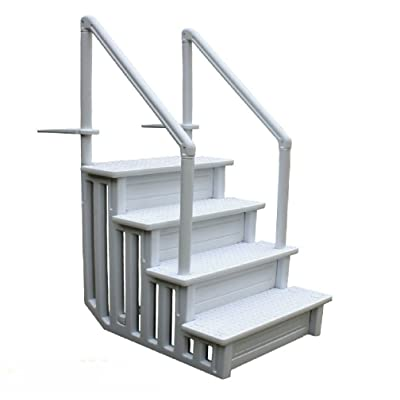 JDM Auto Lights Swimming Pool Ladder Heavy Duty Step System Entry Non Slippery Above Ground : Garden & Outdoor