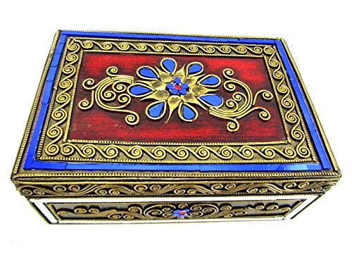 Blue Orchid Hinged Jeweled Trinket Wooden Keepsake Velvet Lined Thai Jewelry Box 8