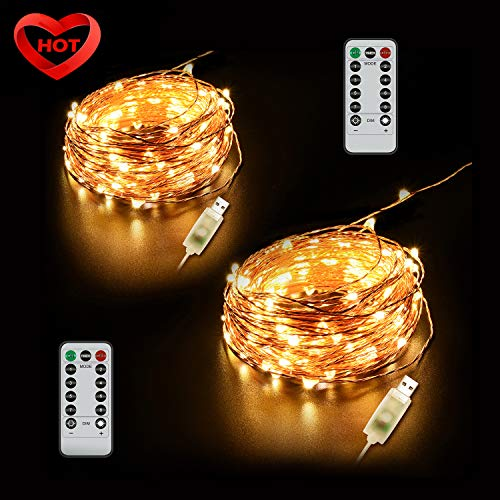 Ylife 2 Pack Fairy Light, 8 Modes String Lights Waterproof, 16.4Ft 50 LED Mini Lights, USB Interface Remote Control, Decorative Copper Wire Mini Lights for Festival Party