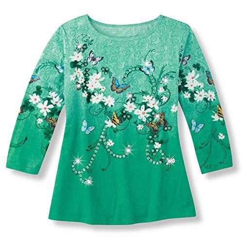 Women's Shamrock & Butterflies ST. Patrick's Day Spring Sequin Shirt, Green, (Round Swirl Top)