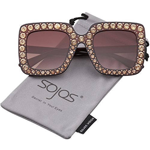 SojoS Crystal Oversized Square Brand Designer Sunglasses for Women SJ2053 with Brown Frame/Gradient Brown - Rhinestone Sunglasses