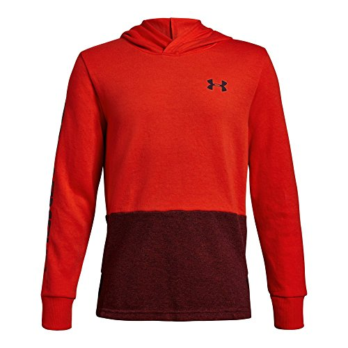 Maroon Youth Hoodie (Under Armour Boys Double Knit Hoodie, Radio Red (890)/Dark Maroon, Youth X-Large)
