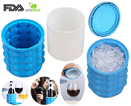 Ice Cube Maker Genie   The Revolutionary Space Saving Ice Cube Maker Silicone Ice Bucket  3 8 X 4 1 Inch Ice Genie Kitchen Tools By Nianpu  1 Pcs