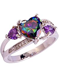 LingMei 88 & 44 & 11mm Heart Round Cut Cz Created Rainbow & Purple Stones Women's Wedding Ring US Size