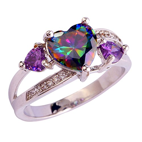 LingMei 88 & 44 & 11mm Heart Round Cut Cz Created Rainbow & Purple Stones Women's Wedding Ring US Size (7)