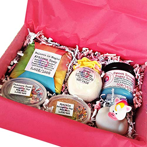 (Unicorn Magic Bath and Body Gift Set with Artisan Soap, Bath Bomb, Sugar Scrub, Wax Melts)