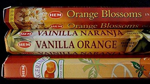 ORANGE Blossom Vanilla Orange Tangerine 60 HEM Incense Stick 3 Scent Sampler Set