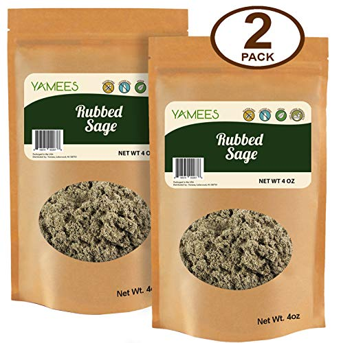 Yamees Rubbed Sage - Sage Rubbed - Sage Leaf - Leaf Sage - Bulk Spices - 2 Pack of 4 Ounces Each (8 Ounces Total)