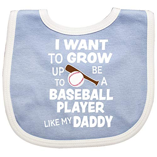 - Inktastic - I Want To Grow up To Be A Baseball Player Baby Bib Blue/White 345bd