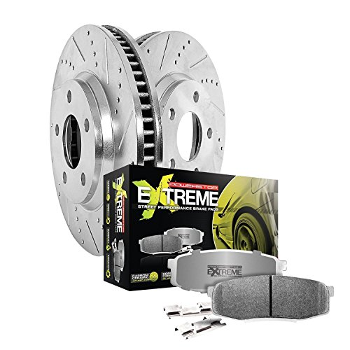 (Power Stop K5957-26 Z26 Street Warrior Extreme Performance Brake Kit (Pads with Drilled And Slotted Rotors))