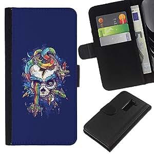 Be-Star la tarjeta de Crédito Slots PU Funda de cuero Monedero caso cubierta de piel Para LG G2 D800 ( Purple Rainbow Skull Snake Blue )
