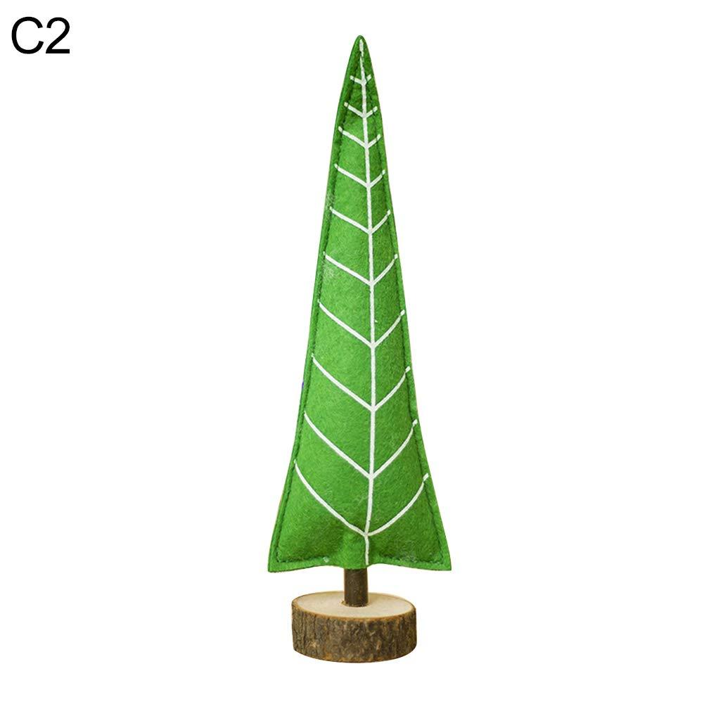 Gaweb Mini Christmas Tree Stripe Dot Wooden Home Party Decoration Ornament Kids Toy C2#