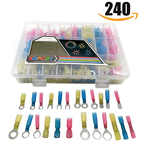 Marine Electrical Connectors (240pcs Heat Shrink Wire Connectors, Sopoby Wire Terminals Waterproof Marine Automotive Electrical Terminals Butt Connectors Assortment)