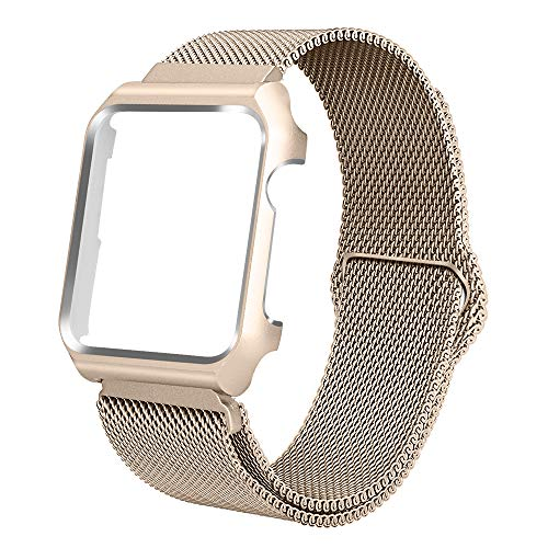 4aa4ca55de72 BMBEAR Compatible with Watch Band 40mm Stainless Steel Milanese Loop  Magnetic Replacement Band with Protection Case