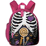 Ugift Cool Print Skeleton Candy Rib-cage X-Ray Halloween Funny 2-6 Child Book Bag Birthday Gift Prize Schoolbag