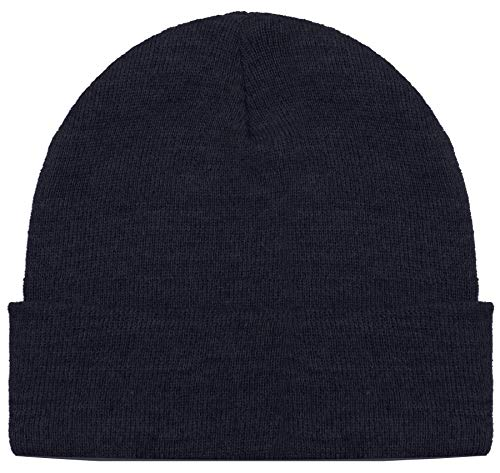 Blueberry Uniforms Navy Merino Wool Beanie Hat -Soft Winter and Activewear Watch Cap