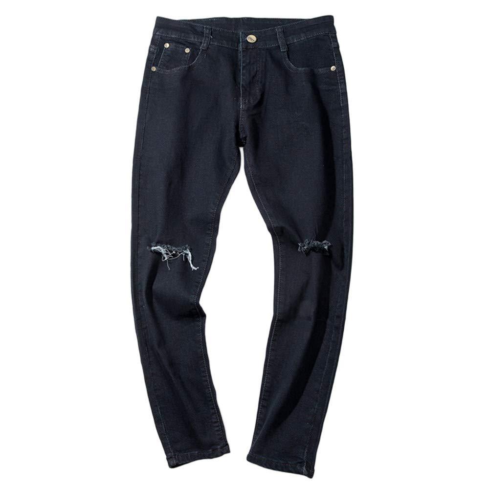 iLXHD Men's Casual Autumn Denim Cotton Ripped Hip Hop Work Trousers Jeans Pants jeans cloth-fitting pants(Black,30)