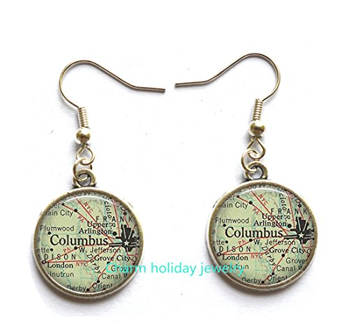 Columbus, Ohio Earrings Columbus map Stud Earrings, Columbus map Earrings, Columbus Stud Earrings.D0106]()