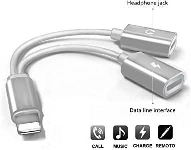 ProTVSolutions Headphones Lightning Charger 2-in-1 Adapter Compatible with iPhone 11/11pro/XR/XS/XSmax/8/7 Earphone Audio Connector Jack Splitter Cable Accessories Support iOS 11/12/13