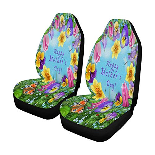 INTERESTPRINT Pansy Tulip Daffodil Iris Dragonfly Ladybug Butterfly Flowers Heart Mothers Day Auto Seat Covers 2 pc, Bucket Seat Protector Car Seat Cushions for Car, SUV, Truck or Van ()
