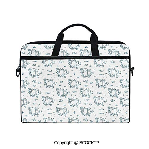 Durable Waterproof Printed Laptop Shoulderr Bag Marine Life Inspired Animal Lovers with Flower Shellfish Dots Doodle Drawing Style Decorative Computer Briefcases for 15 inch -