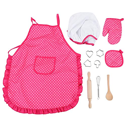 Kids Chef Role Play Costume Set, Toddler DIY Cooking and Baking Suit Toys Set with Apron, Chef Hat, Cooking Mitt, Utensils for Baby 11pcs -