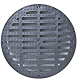 Storm Drain FSD-3017-G20B 20'' Round Flat Grate for Catch Basin, Black