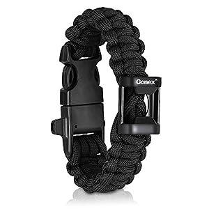 "Gonex 550 Paracord Premium Paracord Bracelet with Fire Starter Military Survival Parachute Cord fits approx 8""-10"" (23-26 cm) Wrists 4 Color to Choose"
