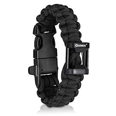 "Gonex 550 Paracord Premium Paracord Bracelet Military Survival Parachute Cord with Fire Starter fits approx 8""-10"" (23-26 cm) Wrists 4 Color to Choose"