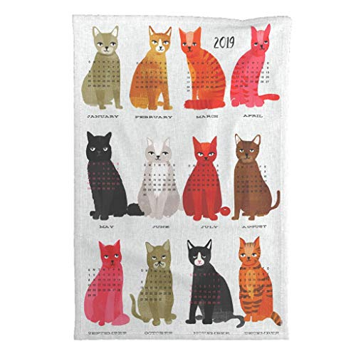 Roostery 2019 Tea Towel Calendar Cat Kitten by Andrea Lauren Special Edition Linen Cotton Tea Towel