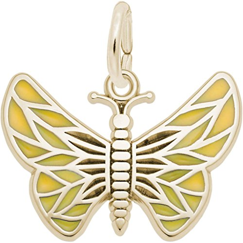- Rembrandt Painted Wings Butterfly Charm w/Tan Enamel - Metal - Gold-Plated Sterling Silver
