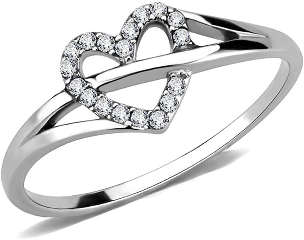 Jude Jewelers Stainless Steel Heart Shaped Wedding Engagement Anniversary Propose Ring