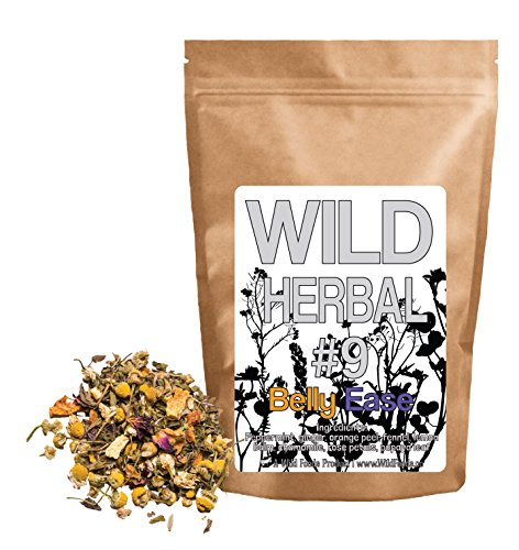 Wild Herbal Tea #9 Belly Ease by Wild Foods - 8 Ingredient Tea with Peppermint, Ginger, Orange peel, Fennel, Lemon balm, Chamomile, Rose petals, Papaya leaf, 100% Natural (4 ounce) Wild Mint Tea