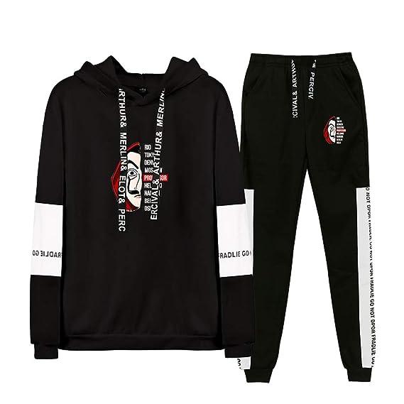 Aibayleef La CASA De Papel Conjunto Dos Piezas Completo Capucha Sudadera Blusa y Pantalon para Mujer Hombre Chandal Gimnasio Sportwear Tracksuit