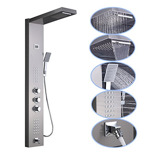 Senlesen Stainless Steel Thermostatic Shower Panel Tower System,Rainfall Waterfall  Shower Head 5 Function