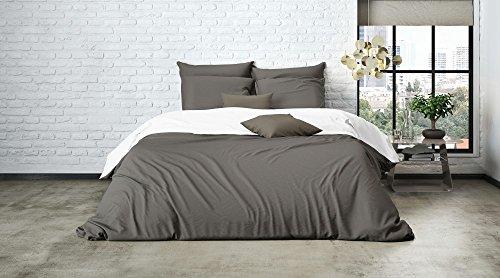 Uni Wende Bettwäsche Mistral Home Edel Perkal 100% Ägyptische Baumwolle, Farbe:Bungee Cord-White;Größe:240x220cm