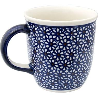 Polish Pottery Mug 12 Oz. From Zaklady Ceramiczne Boleslawiec 1105-120 Classic Pattern, Capacity: 12 Oz.