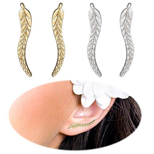 Leaf Studs Ear Crawler Earrings Cuffs Climber Ear Wrap Pin Cute Women Vine Pierced Charms Hoops Jewelry 2 Pair Golden Plated + Silver Plated