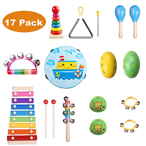 Childom Kids Musical Instruments 17PCS Wood Percussion Xylophone Toys for Boys and Girls,Child Wooden Music Shakers…