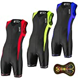 Men`s Triathlon Tri Race Suit - 2 Pockets Skinsuit Trisuit - Great Fit And Comfortable - Ideal From Sprint To Ironman (Black/Neon, L)